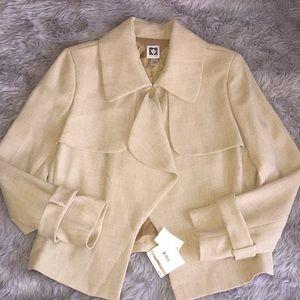 Anne Klein open front beige blazer jacket 🧥